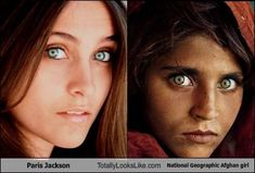 Paris Jackson striking eyes remind me of the iconic national geographic cover of an afghan girl