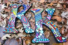 LARGER Custom Mosaic Initials/Letters Your by WiseCrackinMosaics