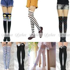 New Ladies Japan Style Cartoon Print False High Stocking Tattoo Tights Pantyhose #Unbranded #SuspenderTights