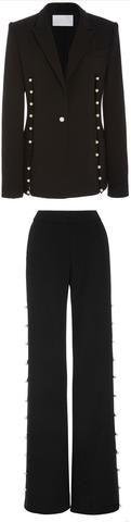 Black Pearl-Button Jacket & Pant Set