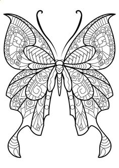 hearts and butterflies coloring page free printable - 736×1040