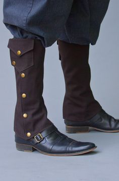 POCKET SPATZ   BROWN 65.00  These sturdy canvas gaiters not only provide ample below the knee protection for the leg but also offer stowage for small items.  Specs  *Made from double layered 12oz Canvas  *Sturdy Snap closure  *Pockets are the perfect size for credit cards and ID