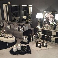 Black living room decor silver room decor decoration living room black and white silver living room Black And Silver Bedroom, Silver Room, Black And White Living Room, Living Room Grey, Home Living Room, Living Room Designs, Living Room Furniture, Living Room Decor, Glamour Living Room
