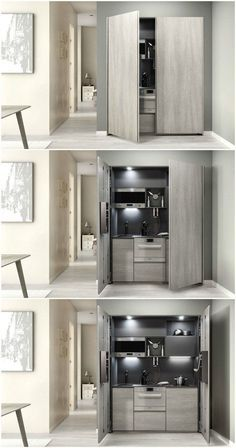 Nine stunning kitchenettes from around the world A kitchenette is a mini-kitchen that at minimum usually has a fridge and a microwave, but some designs pack an impressive amount of functions into a small spa Micro Kitchen, Hidden Kitchen, Compact Kitchen, Kitchen Small, Kitchen Modular, Kitchen White, Petite Kitchenette, Kitchenette Ideas, Kitchenette Design