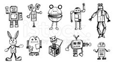Funny Old Robots Doodle royalty-free stock illustration