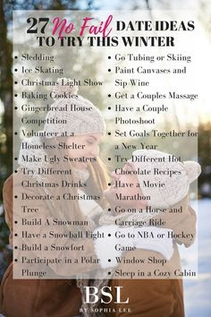 Looking for some winter date ideas? These 27 winter date ideas will give you and your significant other a date you will never forget. Winter Date Ideas, Cute Date Ideas, Winter Fun, Best Date Ideas, Date Ideas For Teens, Unique Date Ideas, Cheap Date Ideas, Date Ideas Jar, Couple Ideas Date
