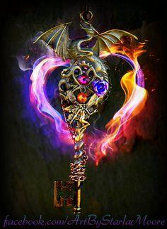 Her Guardian Fantasy Key by ArtbyStarlaMoore on Etsy, $30.00