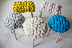 Stools Upholstered with Large-Scale Knits. I love this look! It's very funky and modern, but the knits give a homey feel ♥