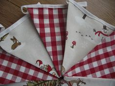 HANDMADE BUNTING WITH FRYETTS XMAS WOODLAND AND LAURA ASHLEY RED GINGHAM FABRIC