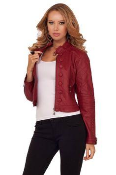 Amazon.com: High Neck Collar Buckle Button Design Zipper Pockets Moto Faux Leather Jacket: Clothing