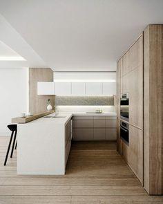 coin repas deco petite cuisine blanche bar bois plan de travail bois