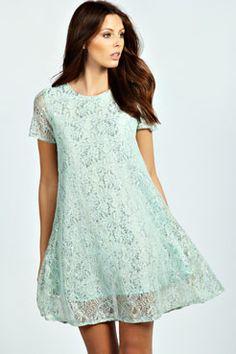 Jacinda Metallic Lace Cap Sleeve Swing Dress at boohoo.com