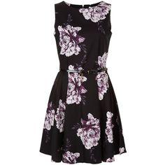 Dark Purple Floral Print Dress ($22) ❤ liked on Polyvore featuring dresses, flower printed dress, floral dresses, floral day dress, floral pattern dress and floral design dresses