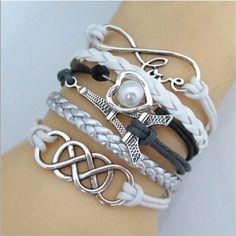 "Eiffel Love Infinity Bracelet Silvertoned multi charm in white black & silver faux leather strands - 7"" with chain extender- Brand New Jewelry Bracelets"