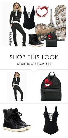 """""""Black Street Fashion Hooded Jogging Suit"""" by autumn-soul ❤ liked on Polyvore featuring Chiara Ferragni and Rick Owens"""