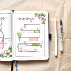 50 Bullet Journal Habit Tracker Ideas For Your Next Spread - Its Claudia G If you're trying to improve your life, here are 50 habit tracker ideas to use on your bullet journal and become the best version of yourself! Books To Read Bullet Journal, August Bullet Journal Cover, Bullet Journal Weekly Spread, Bullet Journal Spreads, Bullet Journal Writing, Bullet Journal Aesthetic, Bullet Journal Ideas Pages, Bullet Journal Layout, Book Journal