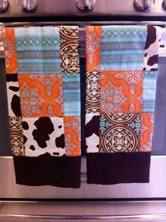 Western Chic on brown patchwork dishtowels