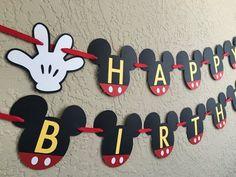 Birthday Party Disney Theme Mickey Mouse 16 New Ideas Mickey Mouse Birthday Theme, Fiesta Mickey Mouse, Theme Mickey, Mickey Mouse Clubhouse Birthday, Mickey Mouse Parties, Mickey Party, Mickey Mouse Banner, Disney Theme, Birthday Banners