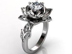 14k white gold diamond unusual unique lotus flower by Jewelice, $1380.00