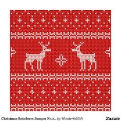 Christmas Reindeers Jumper Knit Pattern Poster