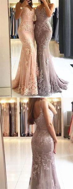 Sweetheart Spaghetti Straps Lace Mermaid Floor Long Custom Evening Prom Dresses, 17424