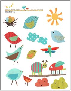 Cutout Bird Printable for Kids PLUS link for other free printables at Children Inspire Design; probably worth a look for something new to do for entertainment. Crafts For Kids, Diy Crafts, Paper Crafts, Printable Art, Free Printables, Diy Bebe, Classroom Decor, Birds, Decoupage