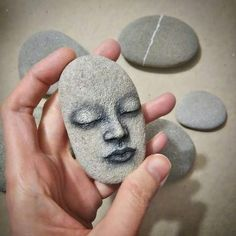 Unique stone art by Magics of Creation: Dreaming stone, hand sculpted and hand painted portrait sculpture, great home decor or paperweight to amaze your visitors! If you would like to adopt a lovely sleeping rock, here you go! I guarantee she would n Pebble Painting, Pebble Art, Stone Painting, Diy Painting, Stone Crafts, Rock Crafts, Rock Painting Designs, Paint Designs, Art Rupestre