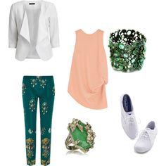 #GREEN #inspiration #Glamour #ring #whiteshoes #tones #asymmetric #crepe #top #white #blazer #slim-leg #pants #jade #skull #ring #sneaker