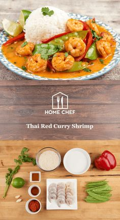 This easy peasy dish is made with sesame oil-seared shrimp, snow peas, and red bell pepper strips in a simple coconut milk-infused red curry. It's all served over a heaping mound of jasmine rice, with a splash of lime, and a touch of cilantro for authentic Thai comfort food. For real though: easy peasy.
