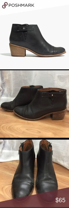 "Madewell Dakota Cutoff Boot Adorable and comfortable black leather ankle boots with collar-stud closure and 2 1/8"" heel in great condition. Some wear and scuffs but still have a lot of life left! Fit true to size. Madewell Shoes Ankle Boots & Booties"