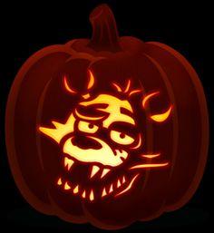 Foxy five nights at freddy's pumpkin - Jen Krenz - Halloween Stencils, Pumkin Carving Stencils, Cute Pumpkin Carving, Pumpkin Stencil, Pumpkin Carvings, Pumpkin Template, Pumpkin Carving Templates, Diy Halloween Decorations, Halloween Diy