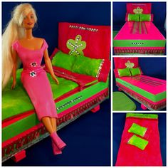 Easy to Make Barbie Bed - A box decorate in striped gift wrap, colored tape and ribbon. Head board is fabric covered cardboard. Reversible pillow cases and duvet cover and down from old pillow for stuffing the duvet and pillows. The floor mat is a sleeping mask from dollar store - great no sew accent. See more ideas at www.starrcreative.wordpress.com Barbie Stuff, Barbie Dolls, Doll Clothes Patterns, Clothing Patterns, Diy Doll Projects, Colored Tape, Old Pillows, Barbie Doll Accessories, Barbie House