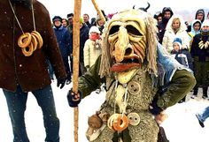 A tradition where we try to scare the winter with our scary masks during February and ask for Spring to come more quickly ... Traditional Lithuanian festival.