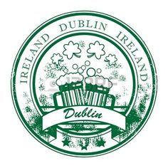 Grunge rubber stamp with beer mugs and the words Dublin Ireland inside Stock Vector