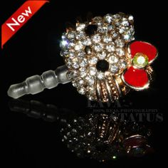 2014 Hot 1PC Free Shipping Wholesale Rhinestone Pearl Multiple Colorful Hello Kitty Cat Phone Dust Plug Accessories Decoration $3.25