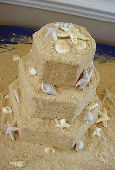 Sandcastle cake - Cake for 2006 Prom.  Made with hex pan set, buttercream icing with crushed Nilla Wafers and Graham Crackers as a coating.  Seashells are chocolate and vanilla candy melts.