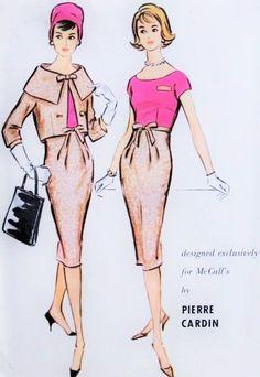1950s Pierre Cardin Slim Dress and Short Jacket Pattern McCalls 4908 Stunning Cape Collar Boxy Short Jacket Slim Wide Open Neckline Dress
