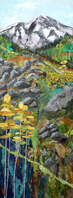 Evans Layers x - Sandra Lane Galloway fine arts. Landscape Art Quilts, Landscape Walls, Collage Landscape, Thread Painting, Mixed Media Painting, Quilted Wall Hangings, Applique Quilts, Fabric Art, Textile Art