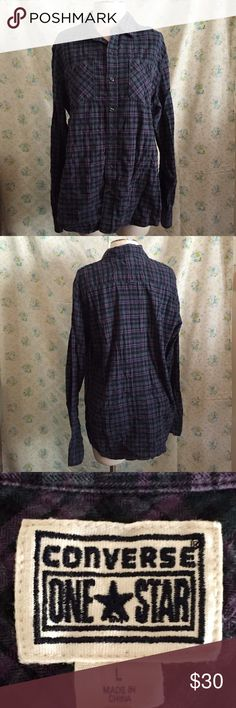 Converse button up Converse purple and blue plaid button up. Size Large men's. Only worn a few times. No holes, no rips, or missing buttons. Converse Tops Button Down Shirts