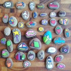 Hand Painted Story Stones Standard Set 20 by TheSweeterSideMom Stone Crafts, Rock Crafts, Fun Crafts, Crafts For Kids, Arts And Crafts, Pebble Painting, Pebble Art, Stone Painting, Rock Painting