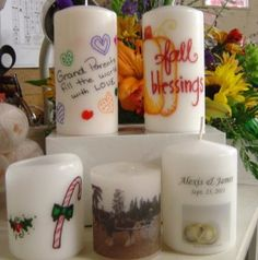 How to Transfer an Image to A Candle TUTORIAL using WAX PAPER, SHARPIES & tissue paper!!!!!