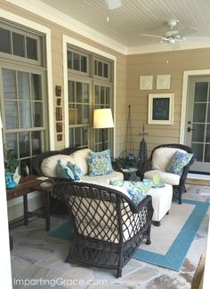 Front porch update and tips for choosing outdoor fabric front porch sitting area viewed from front d Wicker Porch Furniture, Screened In Porch Furniture, Screened Porch Decorating, Outdoor Furniture Sets, Small Back Porches, Screened Porches, Porch Interior, Small Sitting Areas, Outdoor Living Rooms