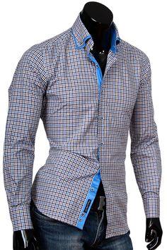 Купить Приталенная мужская рубашка с высоким комбинированным воротником фото недорого в Москве