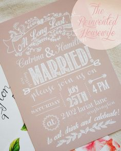FREE wedding invitation and rsvp card printables at TheReinventedHousewife.com! DIY, peach, pink, gold, silver, beige, champagne, chalk board, envelope liners, mad lib, fun, casual, rose, floral, fancy :).