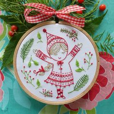 Ornament embroidery Christmas embroidery by TamarNahirYanai More