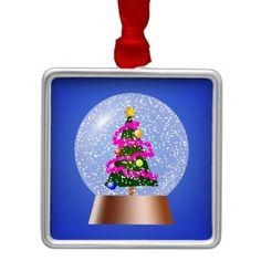 Christmas Tree Snow Globe Christmas Ornament  #Christmas #Tree #Ornament
