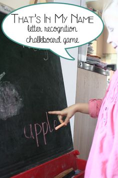 That's in my name - letter recognition chalkboard game for preschoolers