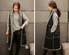Women Leather Faux Fur Long Jacket Vest Winter Warm Waistcoat Outerwear Coat Top