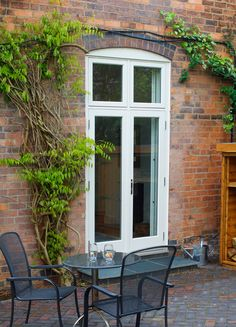 French doors with fixed fanlights external view French Doors Patio, Patio Doors, Leadlight Windows, Timber Door, Chrome, Cottage, Traditional, Outdoor Decor, Modern