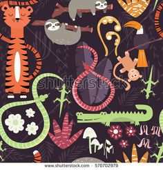 Seamless pattern with cute rain forest animals, tiger, snake, sloth, vector illustration